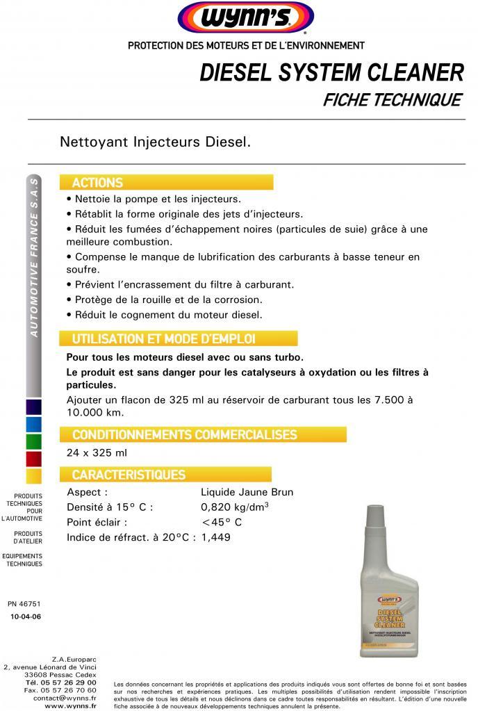 Nettoyant injecteurs diesel